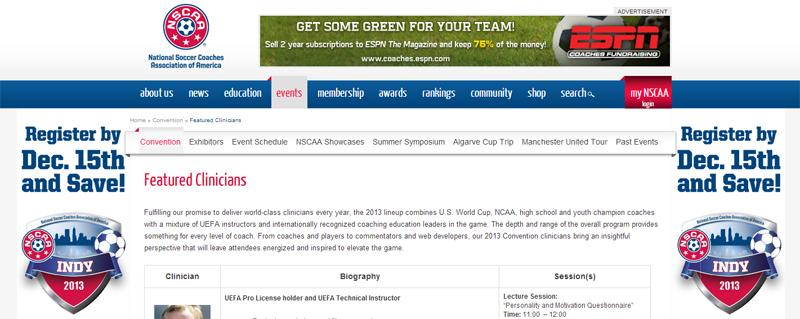 Soccer Coach - NSCAA Clinicians Indianapolis 2013