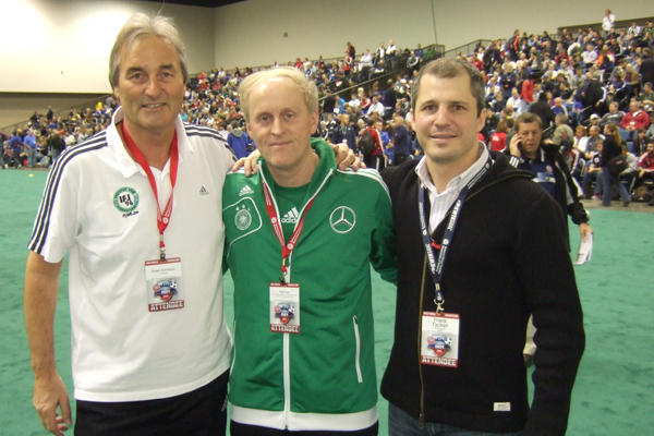 Ralf Peter (DFB), Frank Tschan (President NSCAA Europe) and Peter Schreiner (Institute of Youth Soccer Germany).