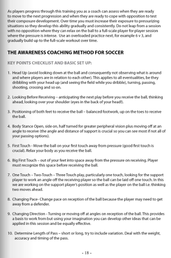 Soccer Awareness - Developing the THINKING player - page 18