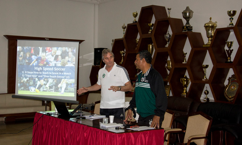 Peter Schreiner and Mohamed Afifey at the seminar at Sharjah Football Club