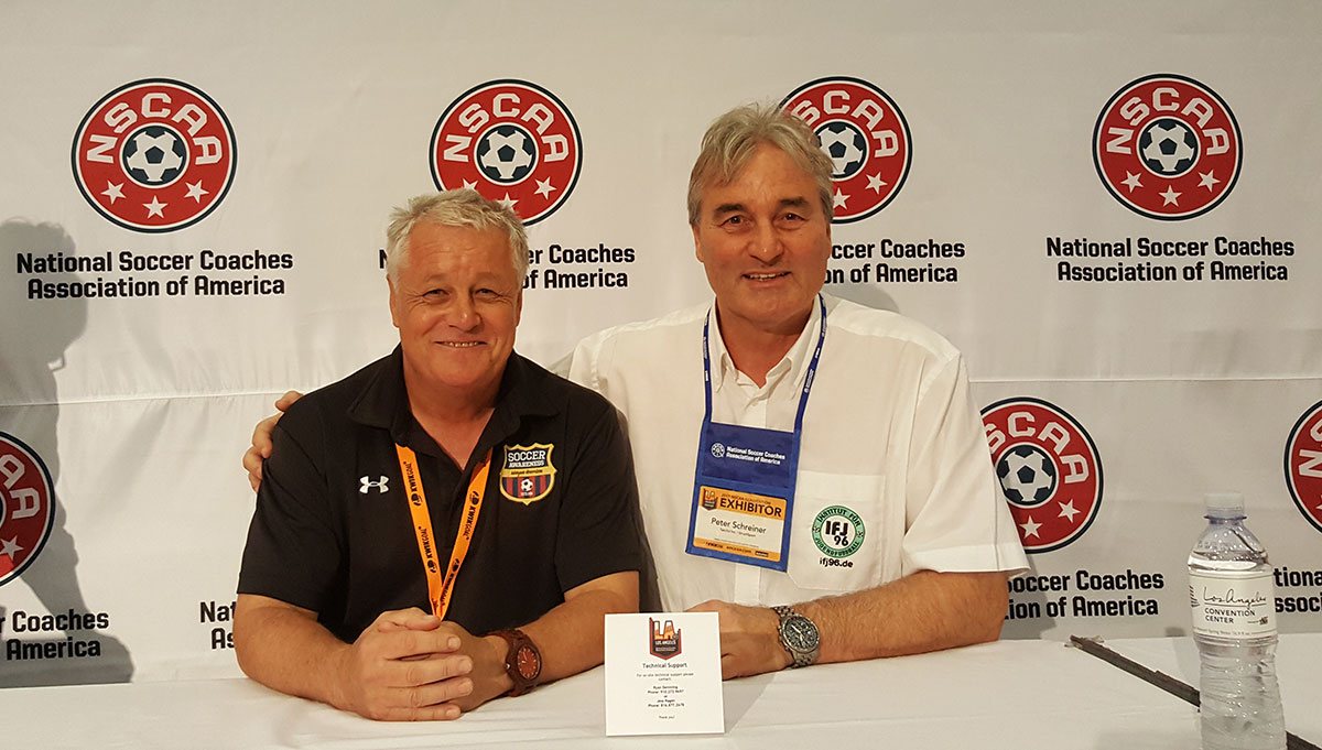 Peter Schreiner here with Wayne Harrison (Soccerawareness) after his excellent day at the NSCAA Convention