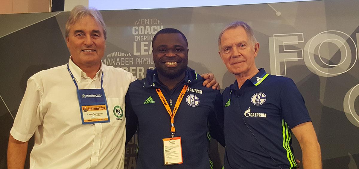 Bodo Menze and Gerald Asamoah (FC Schalke) and Peter Schreiner (former coach U19 FC Schalke)
