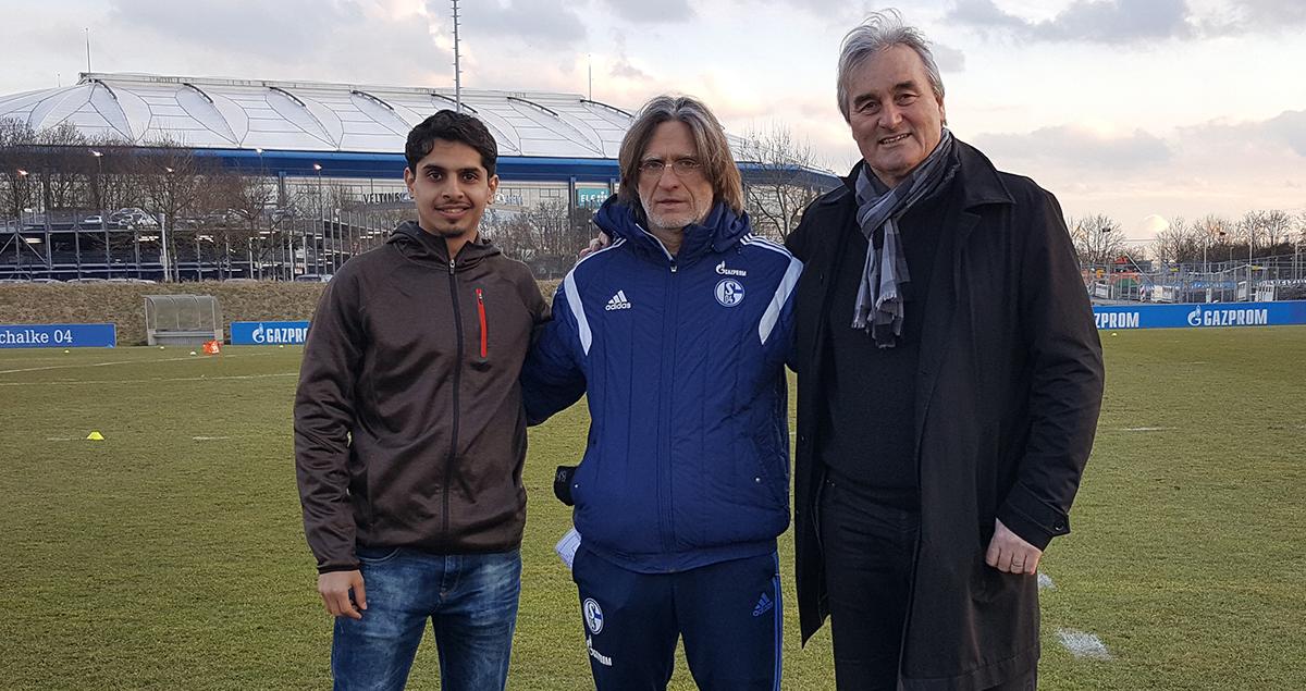 Ahmed Alotaibi, Norbert Elgert (Head coach U19 FC Schalke 04) and Peter Schreiner