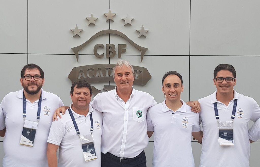 v.l.: Joao Camargo (Organisation CBF Academy), Mauricio Marques (Coordenador CBF Academy), Peter Schreiner (Referent), Israel Teoldo (Referent), Henrique Daimond (Organisation CBF Academy).